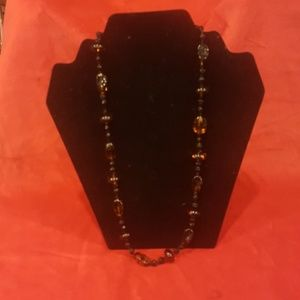 VINTAGE TIGER STONE AND LAVA BEAD NECKLACE